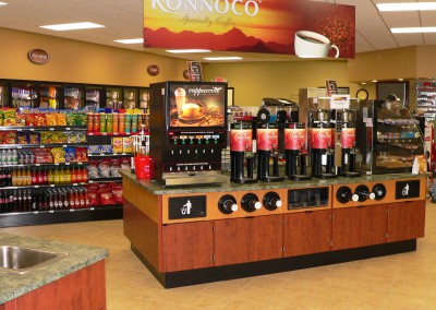 Olivia Cenex coffee station and interior