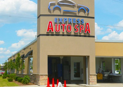 Express Auto Spa sign tower and landscaping